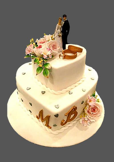 2 level Wedding Statuette Blonde Cake