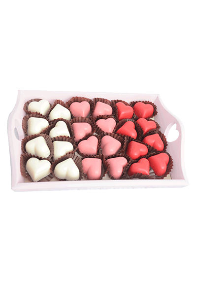 Heart Chocolates in Tray