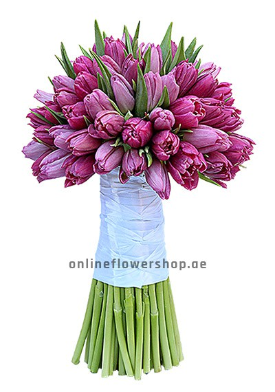 Purple Tulips in Hand Tied