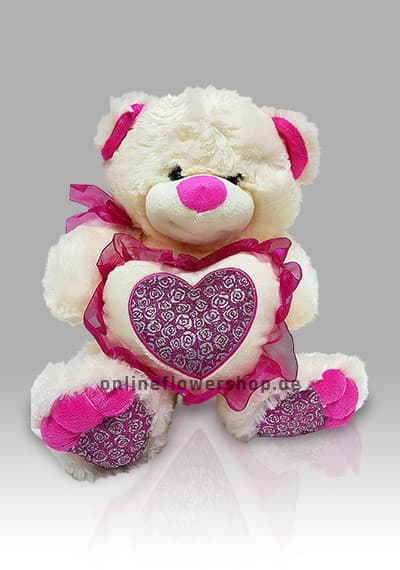 white and pink heart teddy