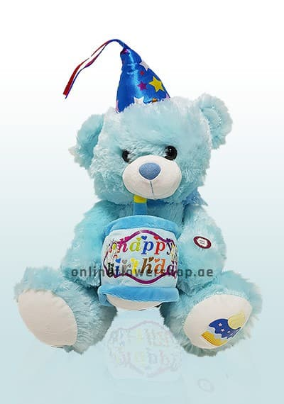 Singing Happy Birthday Blue Teddy